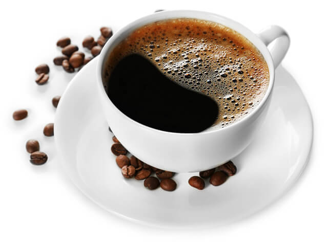 Cup of coffee against a white background