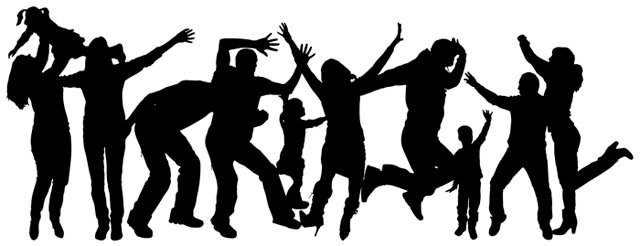 Silhouette of a group of people dancing