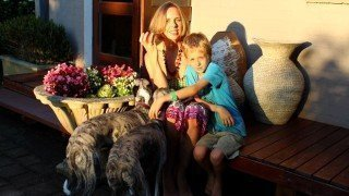 Anthea-Frances-Falkiner-with-son-Felix-and-two-dogs