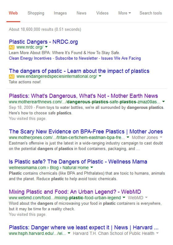 "Screenshot of a Google search for ""plastic dangers"""