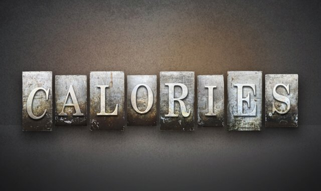 "The word ""calories"" written in vintage letterpress type"