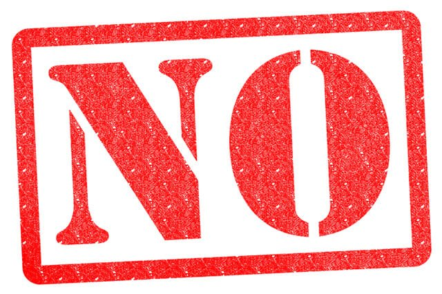"The word ""no"" in red stamp letters"