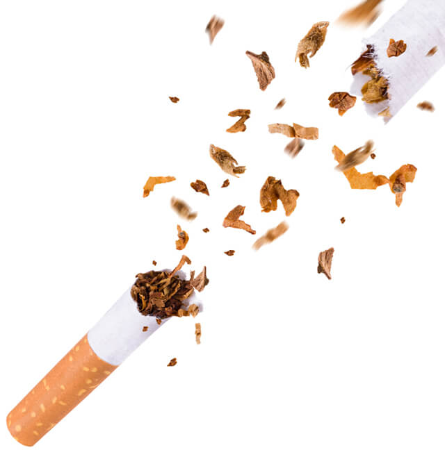 Pictured is a cigarette being broken