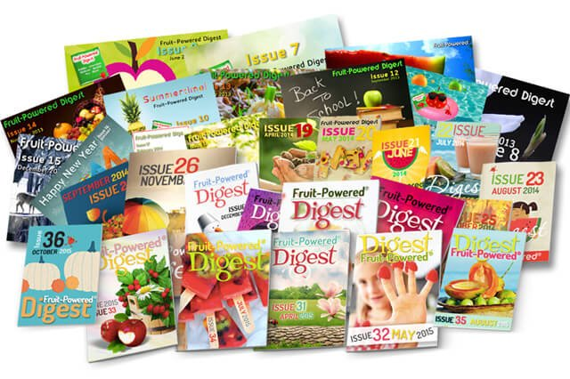 Covers of Fruit-Powered Digest in a pile