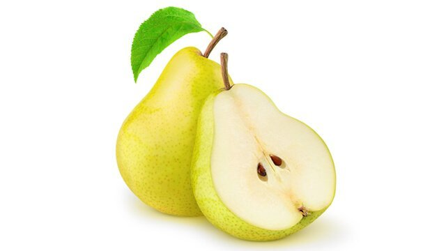 Pears whole and halved on white background