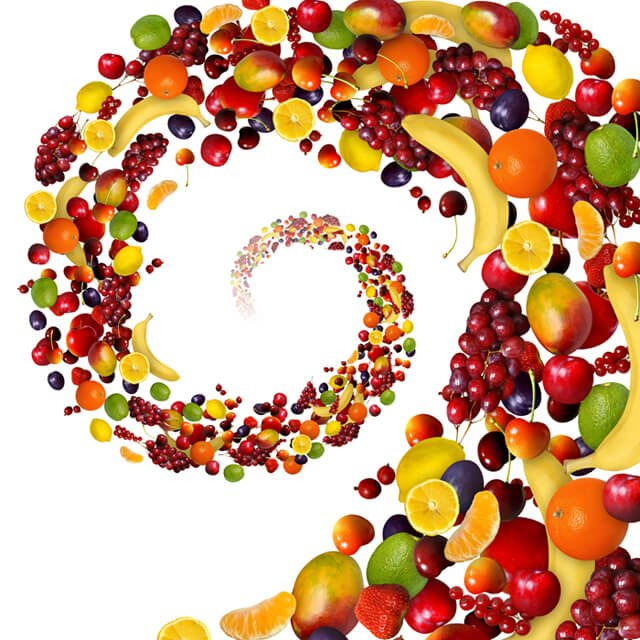 A spiral of colorful fruits
