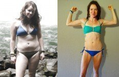 Brittany Taylor photographed before and after adopting a raw food diet