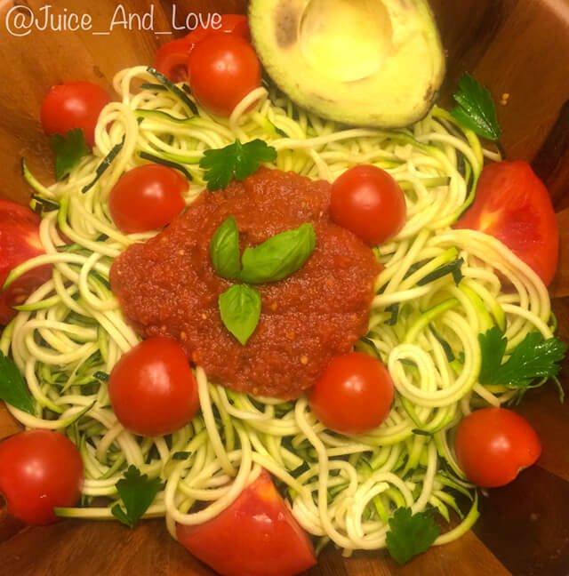Photo of zucchini spaghetti made by John Fallucca