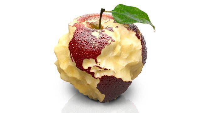 Apple with the carved North and South American continents