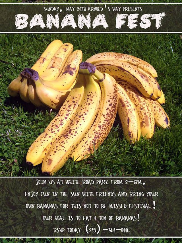 Flier for the 2015 Banana Fest, sponsored by Arnold's Way