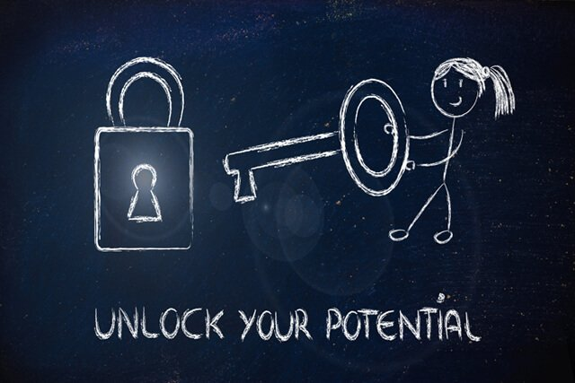 Chalkboard illustration of unlocking potential