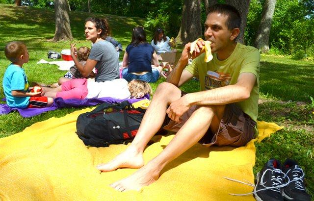 John Fallucca consumes a banana at Banana Fest