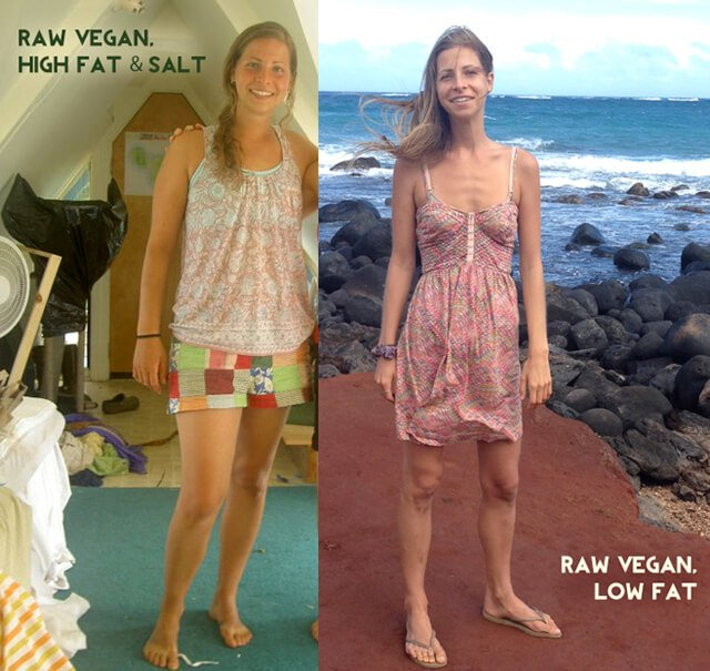 A photo comparison of Kat Green on a high-fat and -salt raw food diet and a low-fat raw food diet