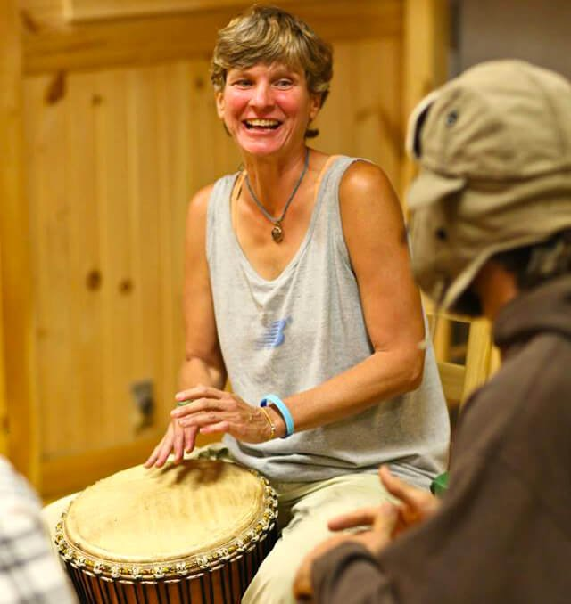 Itsy Sweeney plays bongos at the 2014 Woodstock Fruit Festival