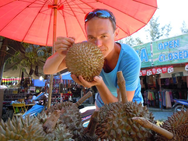 Petr Cech is photographed while picking out a durian in Koh Lanta in 2014