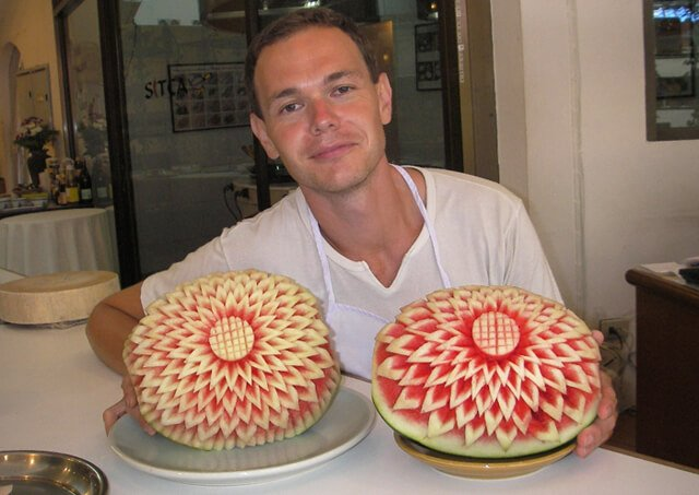 Petr Cech sits behind carved watermelons at a course in Koh Samui in 2008