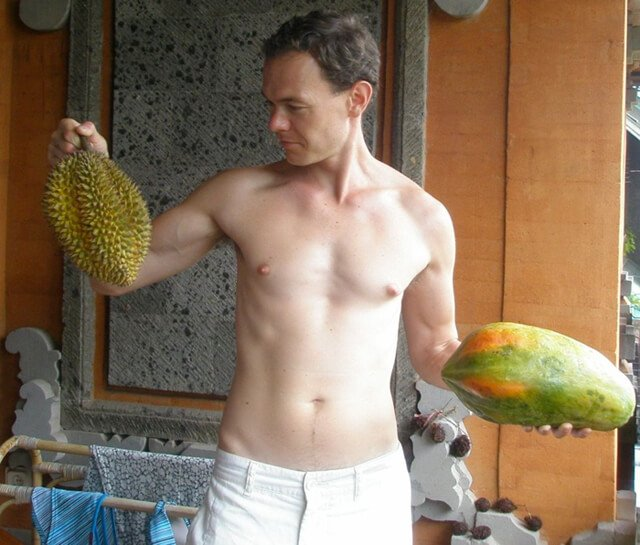 Petr Cech holds fruits in Bali in 2008