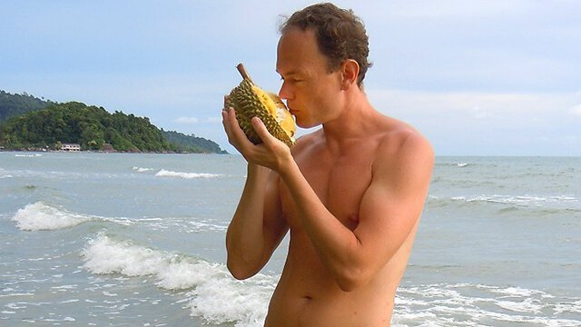 Petr Cech smells durian in Koh Chang, Thailand, in 2013