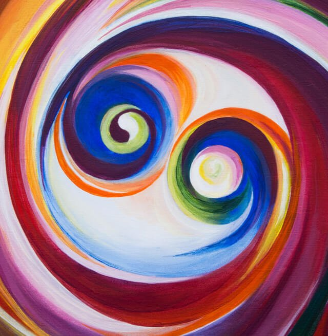 Vibrational energy depicted in a painting