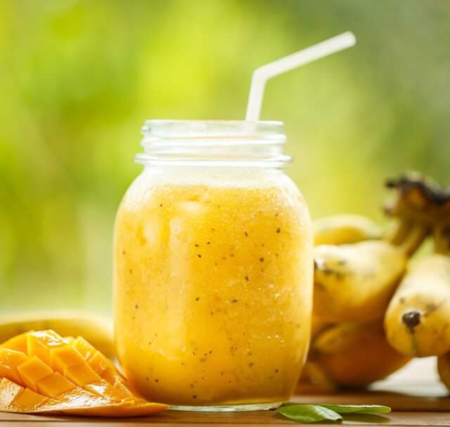 Smoothie of banana and mango