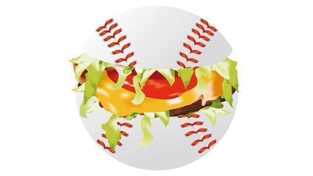 Illustration of a cheeseburger wedged in a baseball