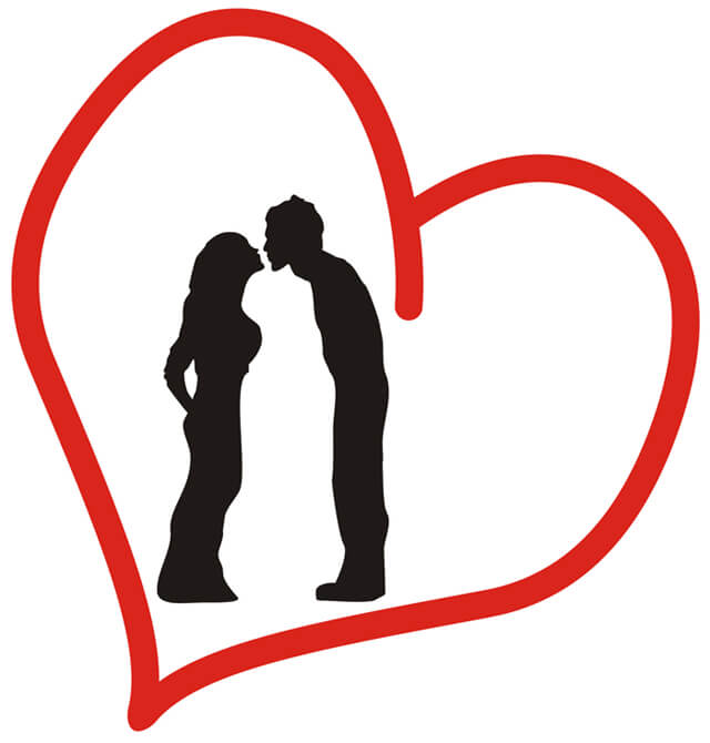 Silhouette of a man and woman kiss in a red heart