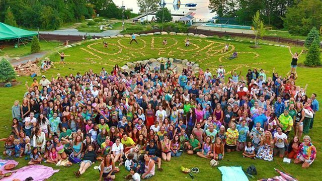 Aerial group shot of the 2015 Woodstock Fruit Festival attendees