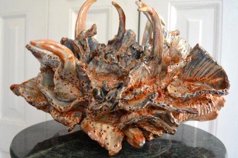 Bluish-white sea sculpture by Betty Korba