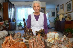 Betty Korba displays sculptures of sea creatures she created