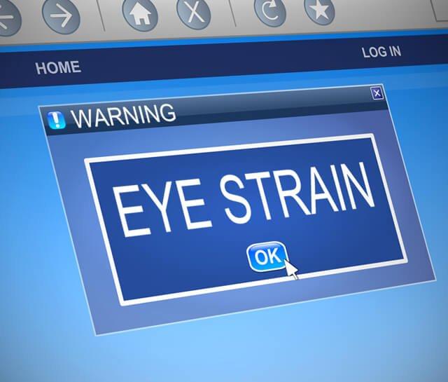 Illustration of computer alert for eye strain