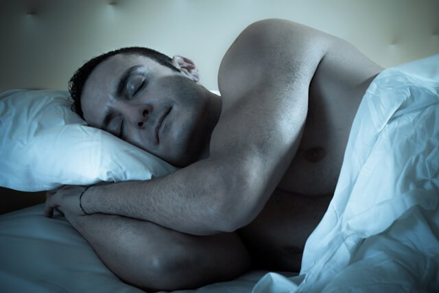 A man sleeps at night