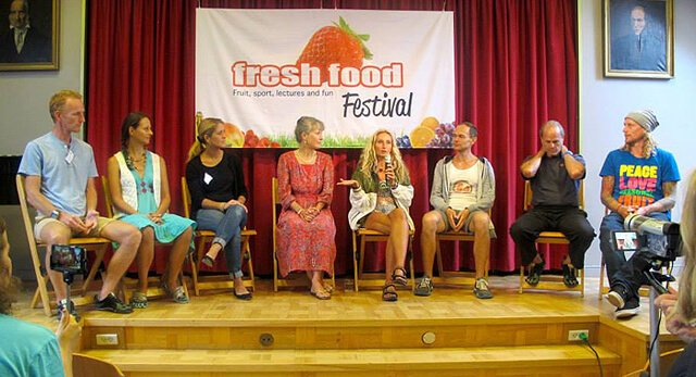 Fresh Food Festival presenters answer during a question-and-answer period