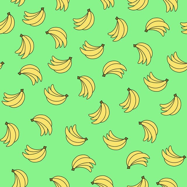 Illustration of bananas raining down on a green background