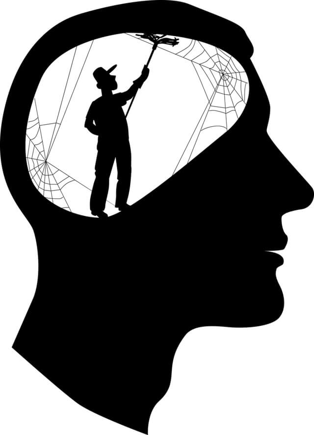 Illustration of a man cleaning out the cobwebs in a mind