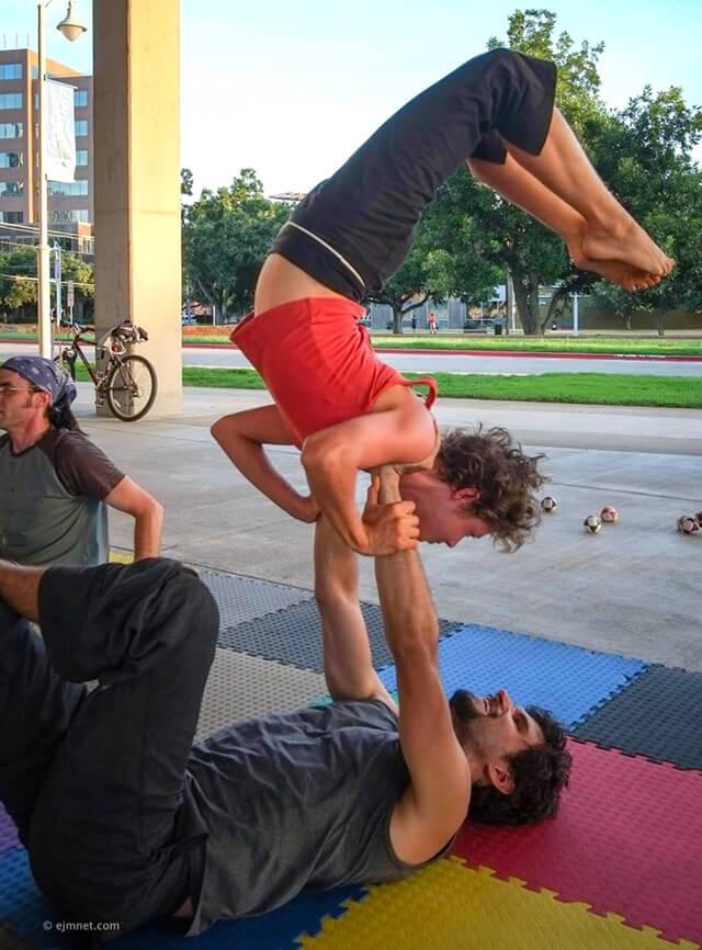 Katy Craine performs acro outdoors