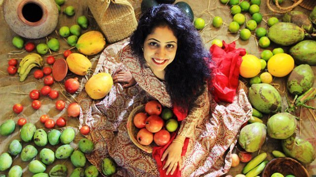 Rupinder Kaur and her fruit collection photographed from above