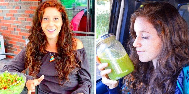 Tarah Millen in two photographs featuring a salad and smoothie