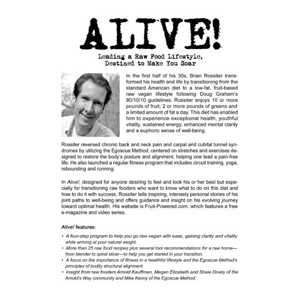 Alive by Brian Rossiter - back cover - raw vegan guide - Fruit-Powered Store