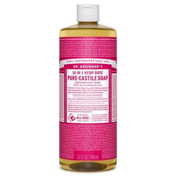 Dr. Bronner's Castile Soaps - rose bottle - natural soaps - Fruit-Powered Store