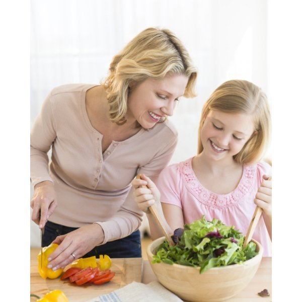 Dressings, Dips, Spreads, Sauces and Salsas: Mouthwatering Recipe Book Series by Brian Rossiter - mother and daughter make salad - Fruit-Powered Store