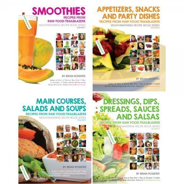 Mouthwatering Recipe Book Series by Brian Rossiter - four covers - Fruit-Powered Store