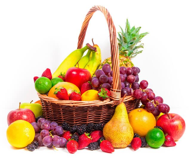 A basket teems with rainbow-colored fruits