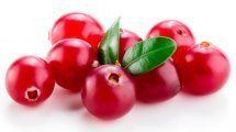 Cranberries with leaves on white background