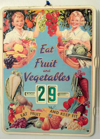 An old-time calendar featuring fruits and vegetables