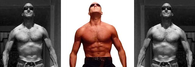 A shirtless Jeff Sekerak in a composite photograph