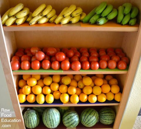 A produce haul, stacked on shelves, by Rick and Karin Dina