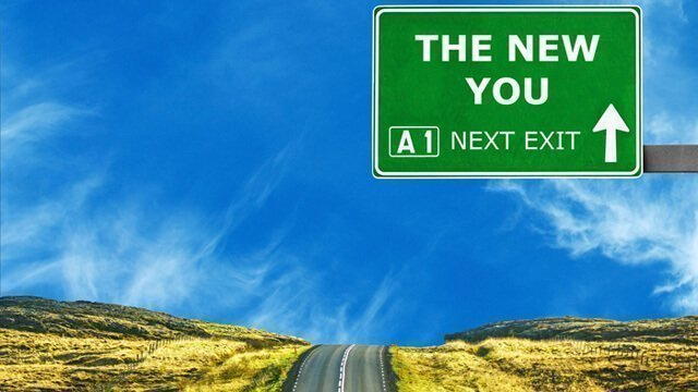 "A traffic sign saying ""The New You"" is at the next exit"
