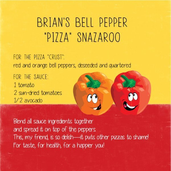 Arnold's Way Childproof Recipes for Everyone by Arnold Kauffman - Brian's Bell Pepper Pizza Snazaroo - Fruit-Powered Store