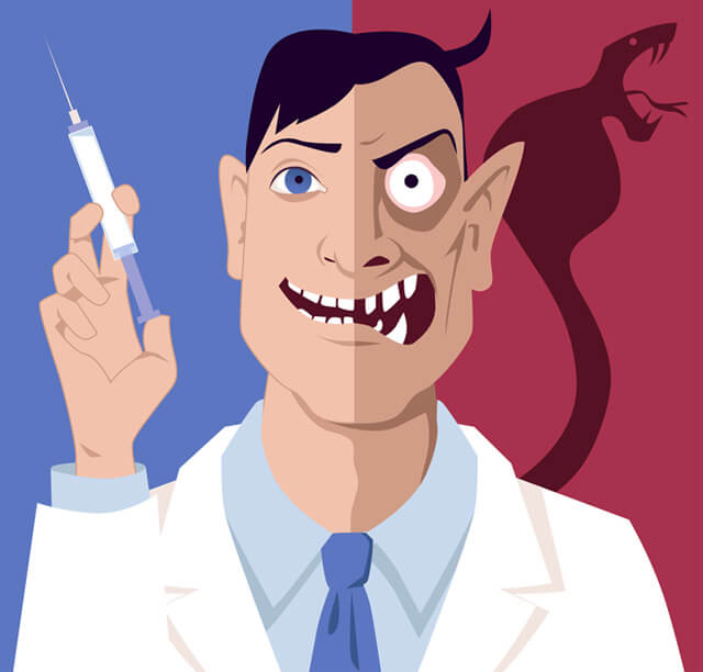 Illustration of a scary-looking doctor holding a vaccination needle