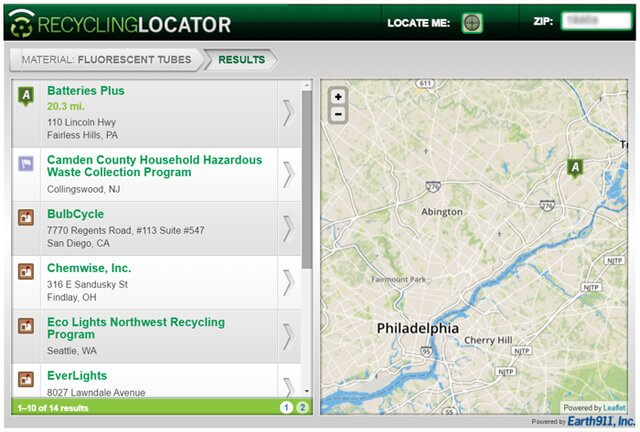 Recycling locator for fluorescent lights on Earth911.com